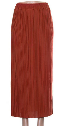 Pleated Long Skirt- Rust
