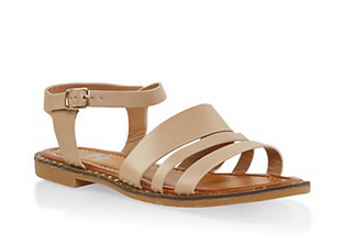 Studded Ankle Strap Sandals- BEIGE