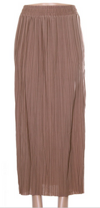 Pleated Long Skirt- Taupe
