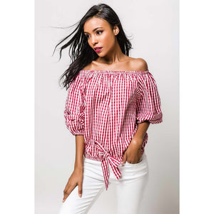 Blouse with off-the-shoulder - RED