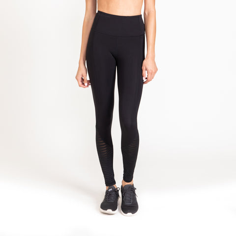 High Waisted Ribbed Mesh Leggings