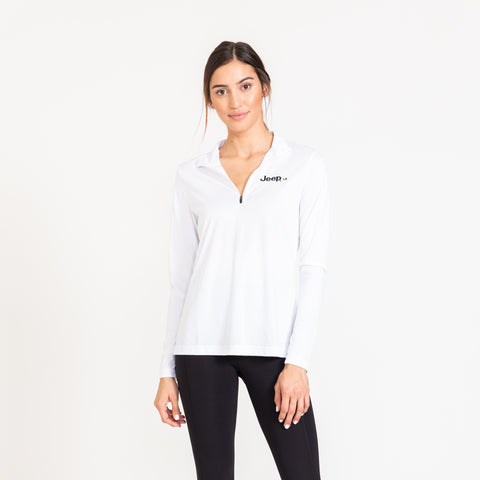 White Quarter Zip Thin Jacket