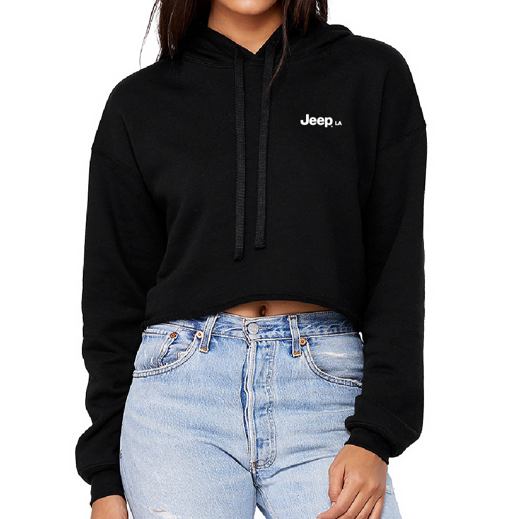 Fleece Crop Hoodie Black