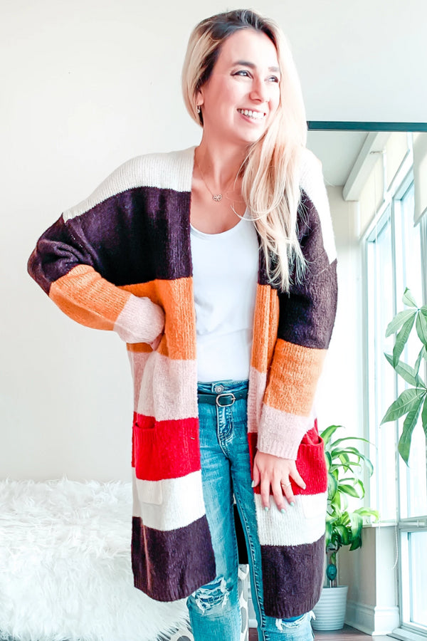 Cover me with colors longline cardigan