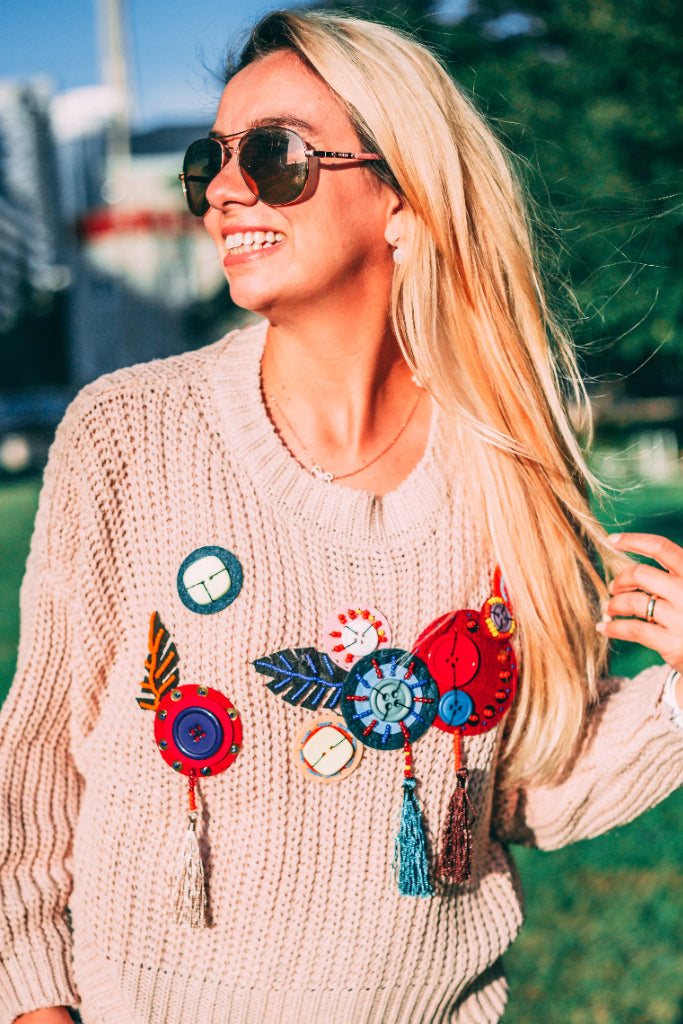 Dressed by Lu Beaded Knit Sweater