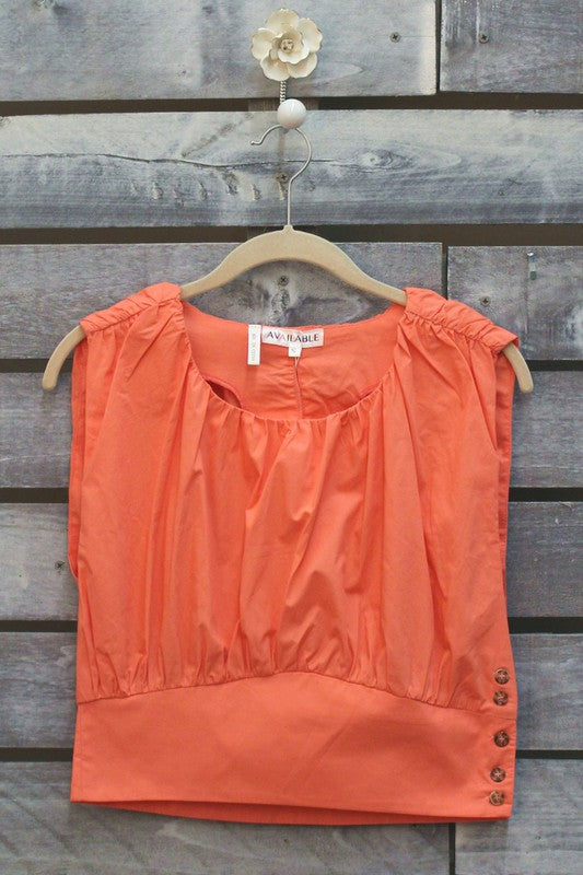 Blow up Crop Top in Coral