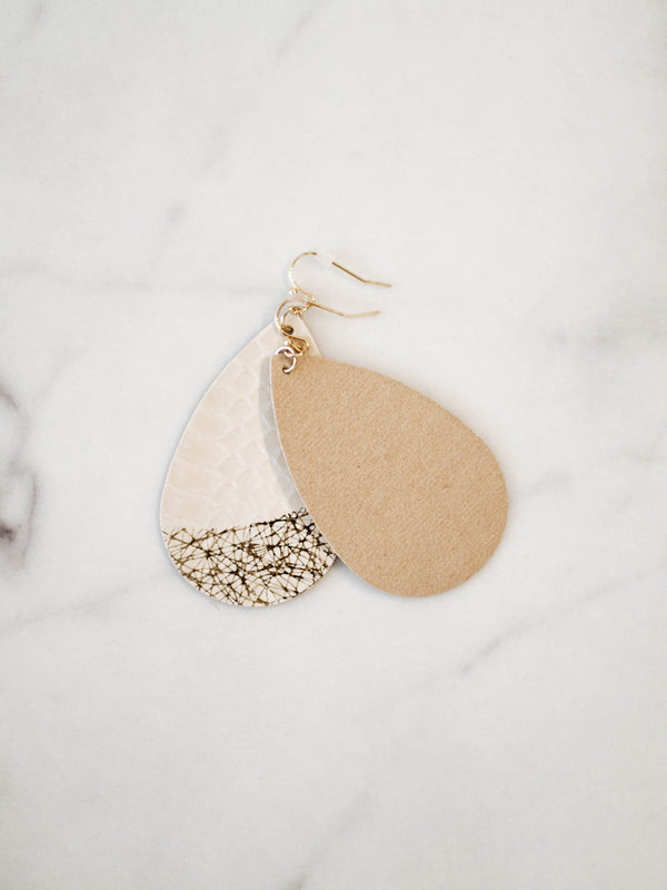 Beige Genuine Leather Earrings