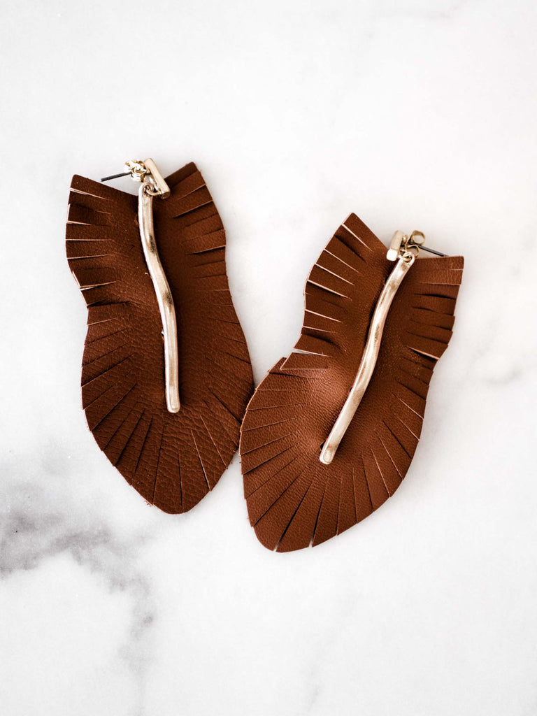 Brown Genuine Leather Earrings