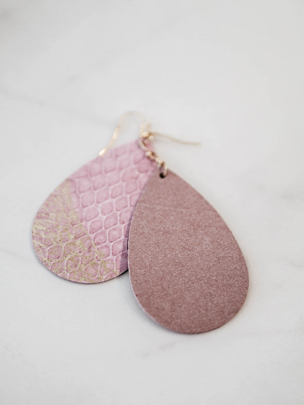 Pink Genuine Leather Earrings