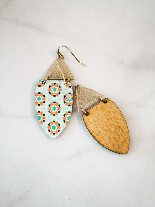 Blue/Greenish Wood Geometric Earrings