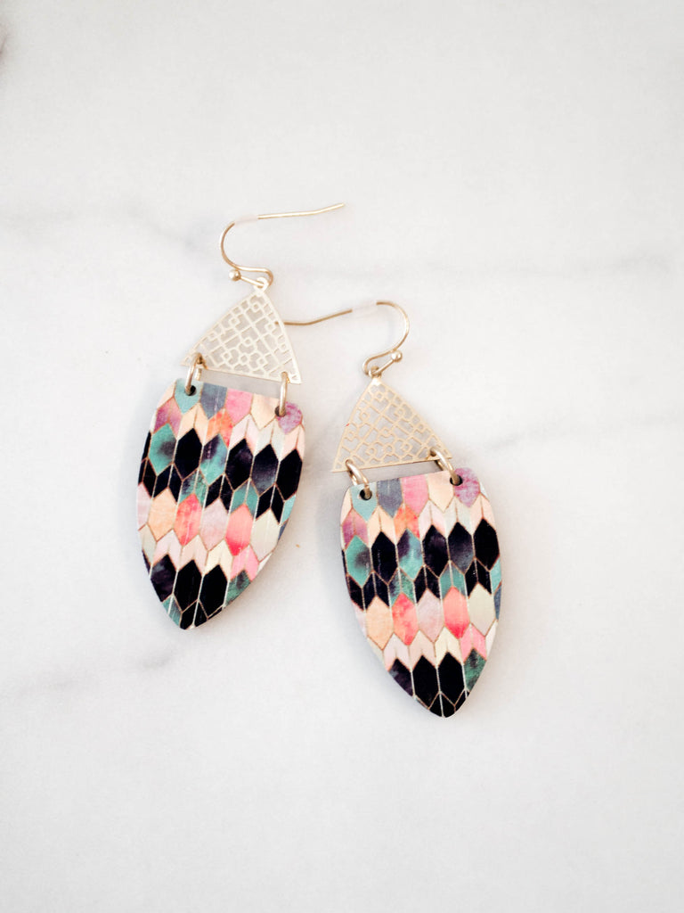 Wood Colourful Geometric Earrings