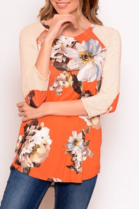 RUST FLORAL TOP W ELBOW PATCH