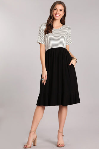 IVORY / BLACK STRIPED MIDI DRESS