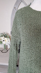 POPCORN CABLE KNIT PLUS SWEATER - MOSS