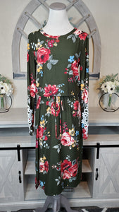 OLIVE FLORAL MIDI W/ CROCHET DETAIL