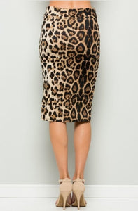 BROWN LEOPARD PRINT PENCIL SKIRT