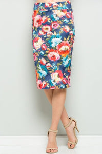 DENIM BLUE FLORAL PENCIL SKIRT