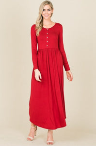 RED BUTTON MAXI DRESS