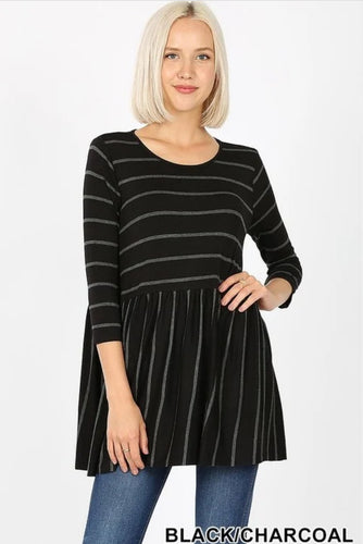 BLACK CHARCOAL STRIPED TOP