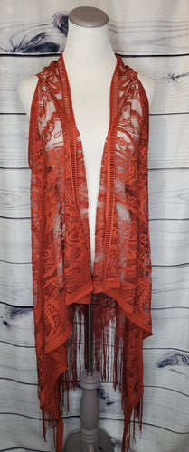 LACE FRINGE VEST - MULTIPLE COLORS