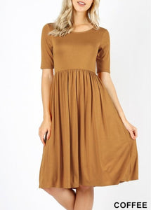 EMPIRE DRESS - COFFEE - REG & PLUS