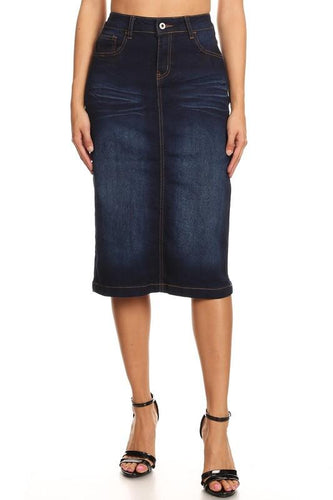 DARK INDIGO STRETCH DENIM SKIRT - PLUS