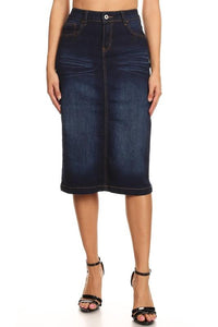 DARK INDIGO STRETCH DENIM SKIRT