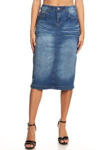 INDIGO STRETCH DENIM SKIRT - PLUS