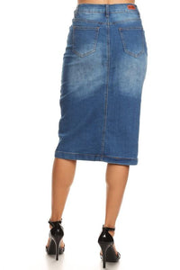 INDIGO STRETCH DENIM SKIRT - REG & PLUS