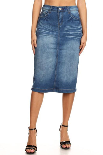 INDIGO STRETCH DENIM SKIRT