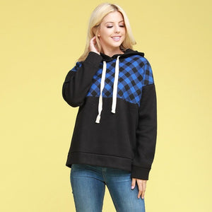 ROYAL / BLACK PLAID HOODIE