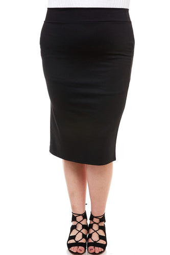 BLACK PENCIL SKIRT - CURVY