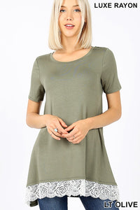 LACE TRIMMED CAP SLEEVE TOP - MULTIPLE COLORS