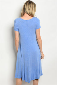 BLUE MINERAL WASH CROCHET DRESS