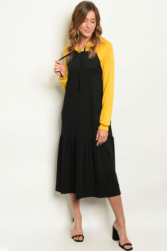 BLACK / MUSTARD HOODIE MIDI DRESS