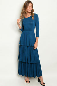 TEAL RUFFLE TIERED MAXI DRESS