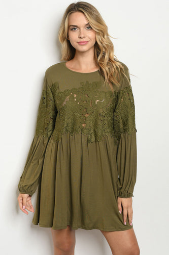 OLIVE GREEN LACE TUNIC