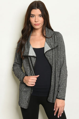 CHARCOAL / FAUX LEATHER CARDIGAN