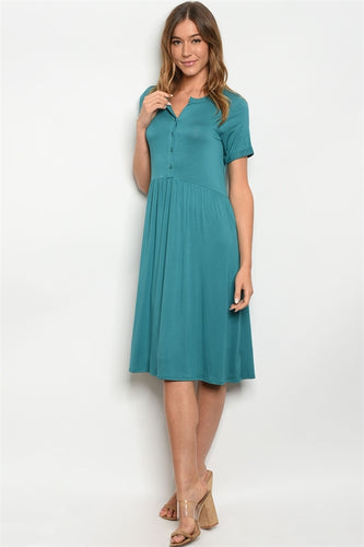 JADE BUTTON FRONT MIDI DRESS