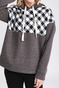 CHARCOAL / BLACK PLAID HOODIE