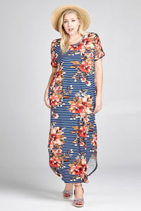 NAVY FLORAL STRIPED MAXI - PLUS