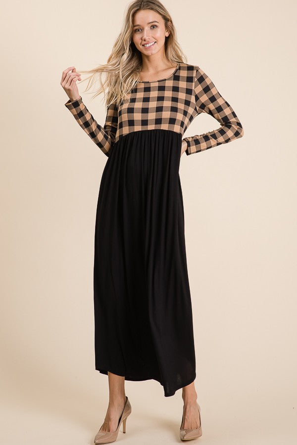 TAUPE / BLACK BUFFALO PLAID MAXI DRESS