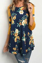 NAVY / MUSTARD FLORAL TOP