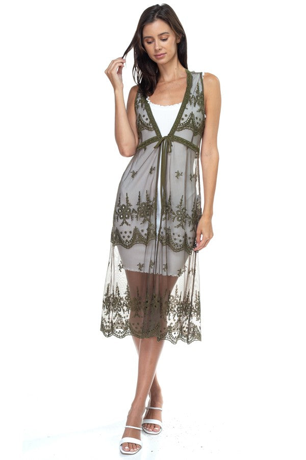OLIVE GREEN EMBROIDERED LACE VEST