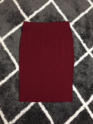PONTE KNIT PENCIL SKIRT - BURGUNDY