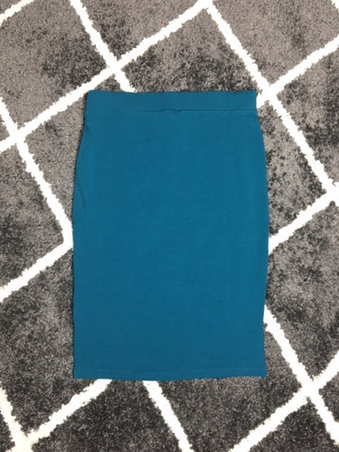 PREMIUM COTTON PENCIL SKIRT - TEAL
