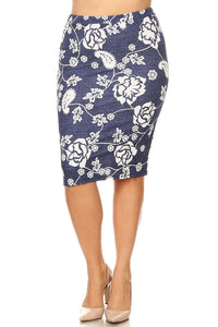 DENIM / WHITE FLORAL PENCIL SKIRT
