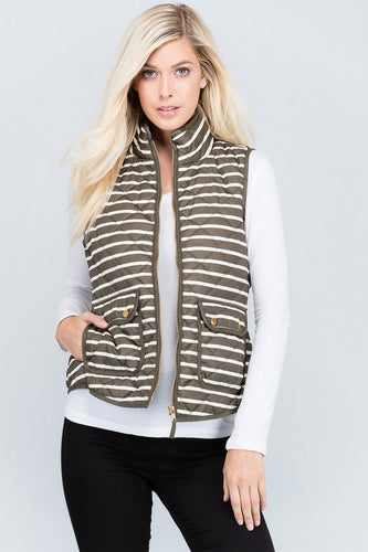 OLIVE STRIPED QUILTED VEST