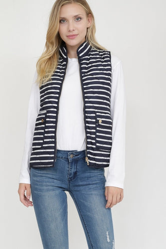 NAVY STRIPED QUILTED VEST