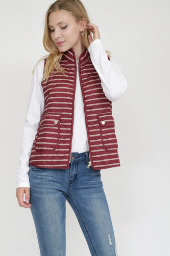 WINE STRIPED QUILTED VEST